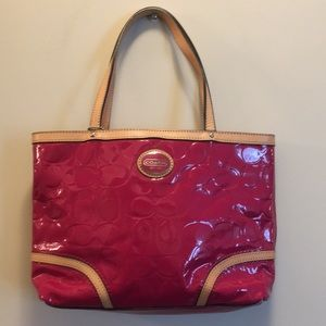 Coach Fuchsia Patent Leather Mini Tote